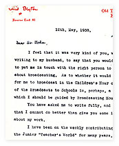 A letter from Enid Blyton to Sir John Reith.