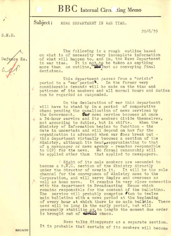 Document with instructions for the News Department on the Outbreak of War (page 1 of 2).