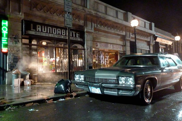 The Pinewood set complete with period props and car and CGI to recreate downtown Manhattan