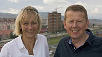 Louise Minchin and Bill Turnbull make their way to America (pictured here in Mongolia)