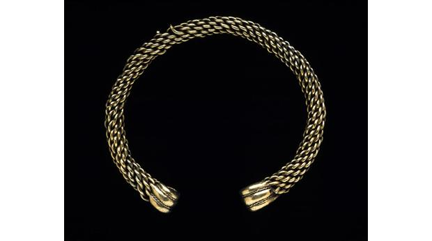 Torc for an ancient Celtic chief, found at Glascote, Staffordshire. Copyright Birmingham Museums & Art Gallery