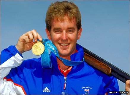 Shooting star Richard Faulds with his double trap gold at the 2000 Games