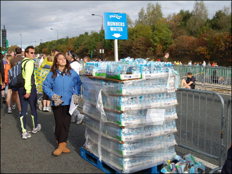Bottles of water for runners