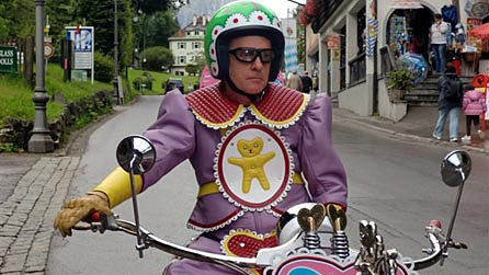 Eccentric artist Grayson Perry takes his teddy bear across Bavaria on a highly decorated Kenilworth AM1 motorcycle