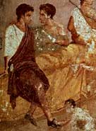 Detail from a fresco painting of the beginning of a Roman banquet