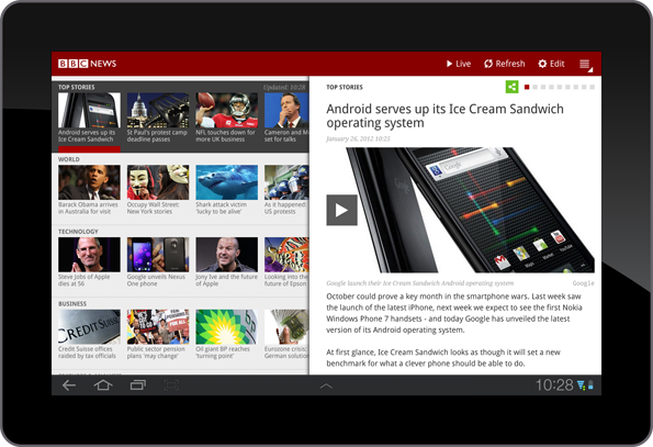 Screenshot of News app, with story on right hand side
