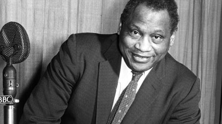 Black and white photograph of Paul Robeson taken in 1958