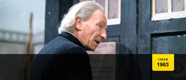 William Hartnell as Doctor Who, alongside his Tardis.