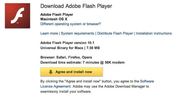 Flash download step 1 – Agree and install