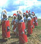 Reconstruction showing Roman soldiers marching