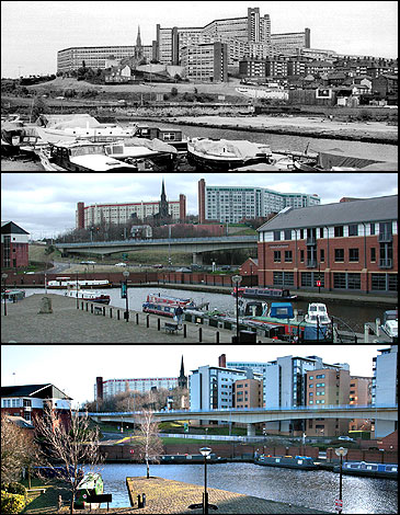 Hyde Park flats from Victoria Quays, Sheffield - 1970s, 2000 and 2009
