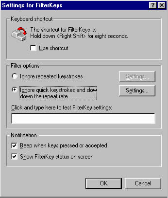 Settings for Filterkeys  dialog box