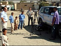 A news report is broadcast from Afghanistan, using a wireless network