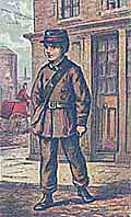 Cartoon depicting a London telegraph boy in uniform standing outside a house