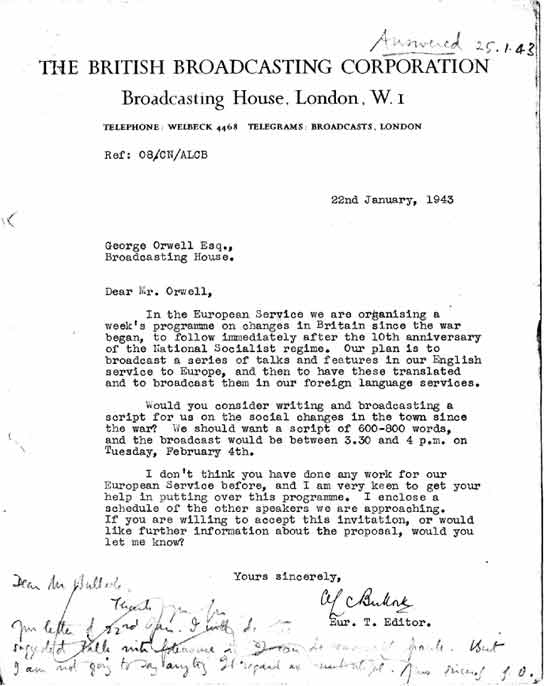 Bbc archive george orwell at the bbc letter to orwell from letter to orwell from alc bullock stopboris Gallery