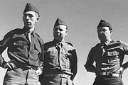 Three young men in Second World War American army uniform: (left to right) Fred W. Thissen, Ernest Pine and Jacob Rothschild
