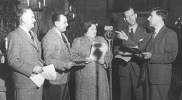 Members of The Archers cast of 1951 - Harry Oakes (Dan Archer), Bob Arnold (Tom Forrest), Gwen Berryman (Doris Archer), Harry Stubbs (Rev John Ridley) - and Tony Shryane