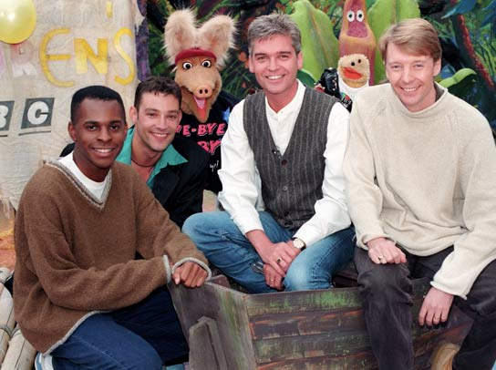 Andi Peters, Toby Anstis, Otis the Aardvark, Phillip Schofield, Gordon the Gopher, Andy Crane.