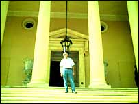 El-Masri on the steps of his palace