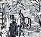 Illustration showing the cotton machine that was exhibited at the Great Exhibition, 1851