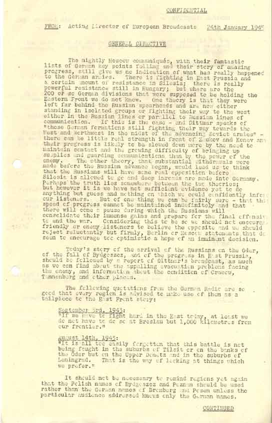 Page one of a European News Directive - 24 January 1945.