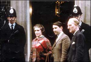 Madge Elliot from Hawick in the Borders area of Scotland, pictured standing with David Steel on the steps of Number 10 Downing Street in 1968. She is holding a petition calling for the closure of the Edinburgh - Carlisle route, 'The Waverley Line', to be stopped. It was earmarked for closure under the Beeching proposals and was eventually closed in 1969. She has been campaigning for its restoration ever since.
