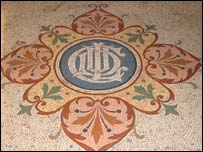 The tiled floor of the former council building
