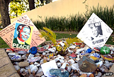 Messages for Nelson Mandela are left outside his home in Johannesburg.
