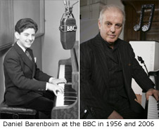 LEFT: Daniel Barenboim in 1956 for BBC Eastern Service, Hebrew Section; RIGHT: Daniel Barenboim in 2006 for BBC Reith Lectures