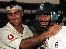 Graham Thorpe and Nasser Hussain celebrate the victory in Karachi