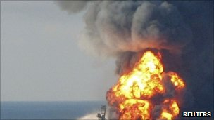Fire boat response crews battle the blazing remnants of the offshore oil rig Deepwater Horizon 21 April 2010