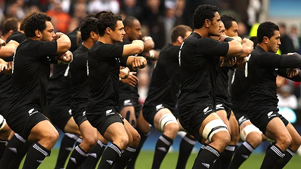 The All Blacks perform the Haka ahead of their Test against England at Twickenham. Photo: Getty.