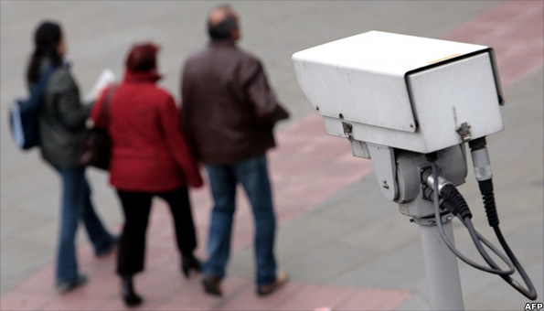CCTV camera observes passers-by
