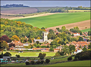 Lambourn nestled in the folds of the downs