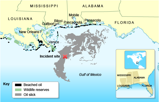 bbc gcse bitesize case study gulf of oil spill and bp gulf of oil spill location map
