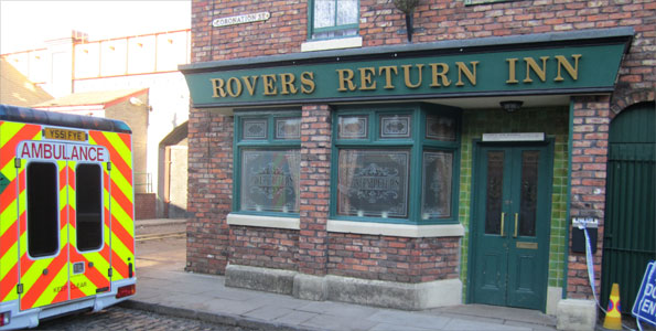 Rovers Return pub on Coronation Street set
