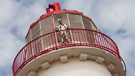 The Keeper sculpture looks out from Point of Ayr lighthouse