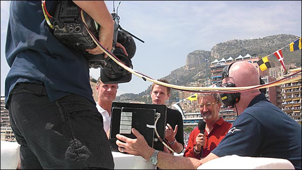 David Coulthard, Jake Humphrey, Eddie Jordan in action