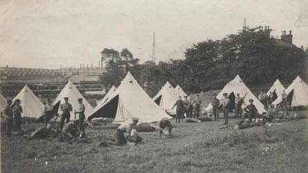 Troops camped near Llanelli during the Railway Strike, 1911