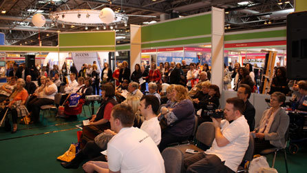 A packed crowd squeezed into the Lifestyle Zone to giggle themselves silly during Laurence Clark's show