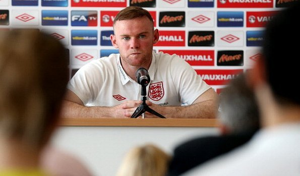 Wayne Rooney in a press conference in Krakow