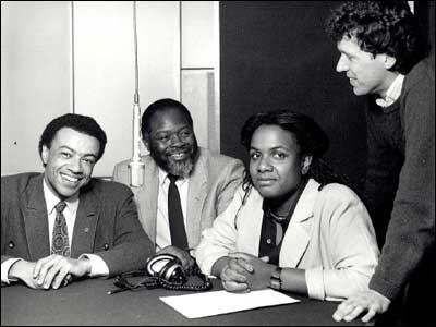 (l-r): Paul Boateng, Bernie Grant, Diane Abbott and Jerry Timmins (1987)