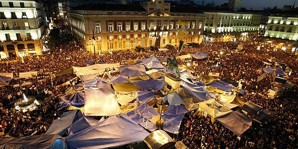 Photo of the tent camp in Madrid