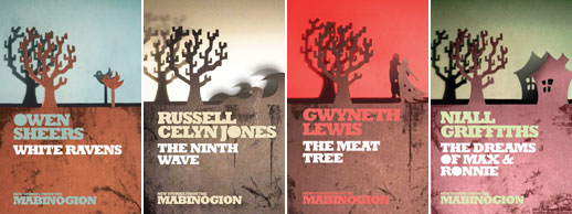The four titles in Seren's New Stories From The Mabinogion series. Images courtesy Seren Books.