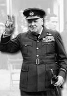 Photograph showing Winston Churchill in war time uniform