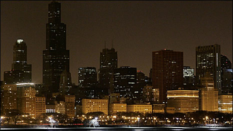 Chicago during Earth Hour
