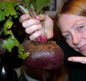 Ann with her enormous beetroot