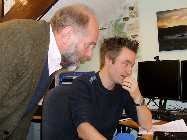 Alistair Moffat and Jim Wilson at work in Jim's office