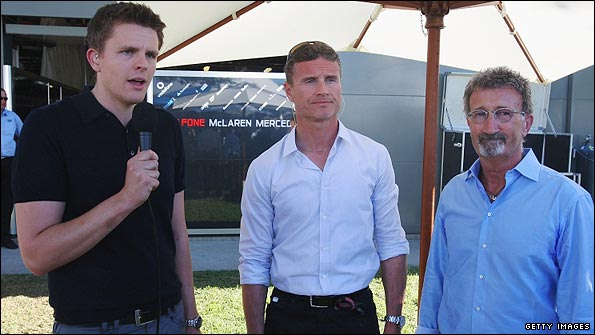 Jake alongside David Coulthard and Eddie Jordan