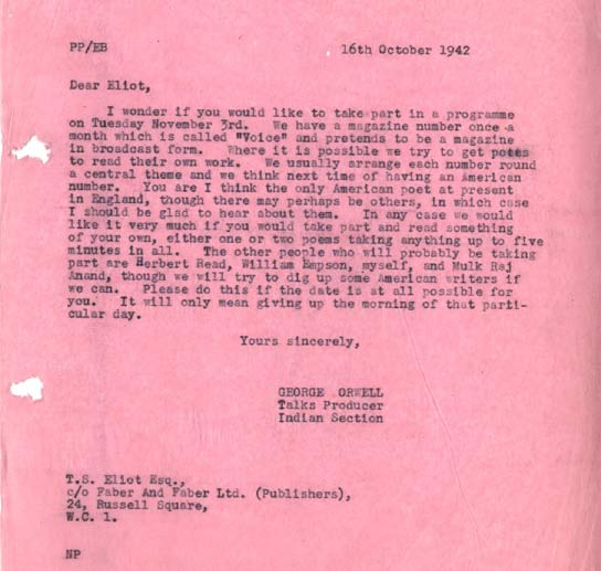 BBC Archive George Orwell at the BBC Letter from Orwell to